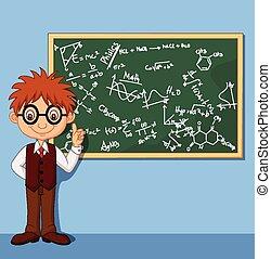 Vector illustration of Cartoon smart boy