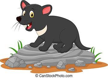 Cartoon tasmanian devil on the rock