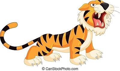 Vector illustration of Cartoon tiger roaring