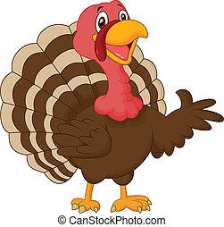 vector illustration of Cartoon turkey presenting