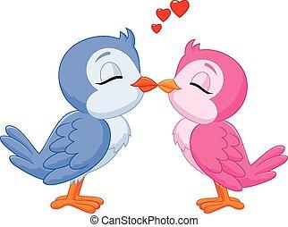 Cartoon two love birds kissing
