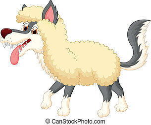 Cartoon Wolf in sheep clothing