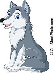Cartoon wolf sitting on white background