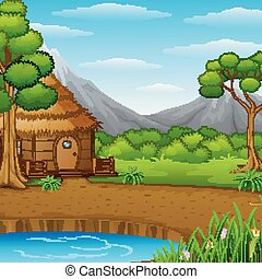 Cartoon woods cabin in the mountains landscape background