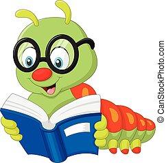 Vector illustration of Caterpillar reading book