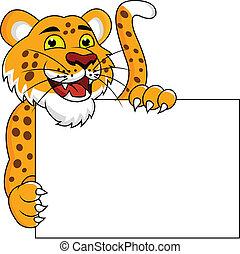 Vector Illustration Of Cheetah cartoon with blank sign