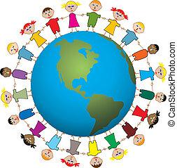 vector illustration of children around the world