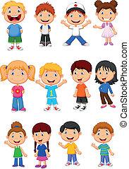 Vector illustration of Children cartoon collection set