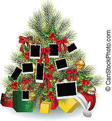 vector illustration of Christmas tree with frame