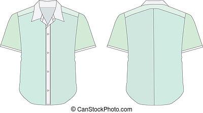 vector illustration of Collar Dress Shirt In Green Color Tones