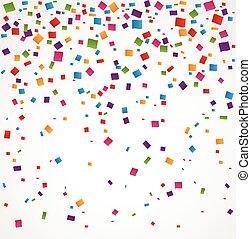Colorful confetti on white