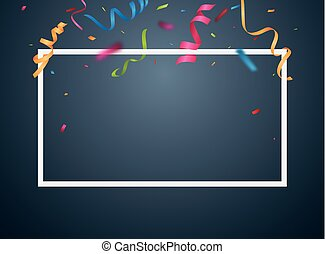 Colorful Party Frame And Confetti On White Background