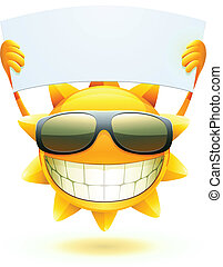 Vector illustration of cool cartoon happy summer sun in sunglasses with blank banner