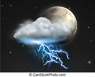 Vector illustration of cool single weather icon - moon with cloud, heavy fall rain and lightning in the night sky
