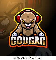 Cougar mascot esport logo design