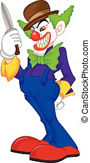 vector illustration of creepy clown cartoon