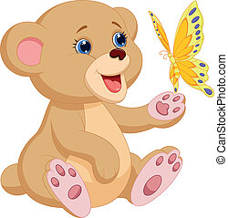 Vector illustration of Cute baby bear cartoon playing with butterfly