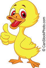 Vector illustration of Cute baby duck cartoon thumb up