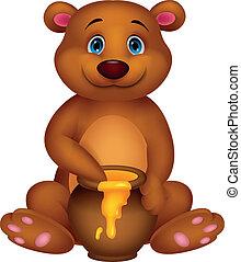 Cute bear cartoon with honey