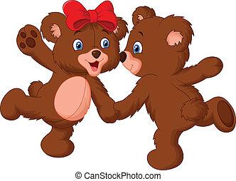 Vector illustration of Cute bear couple cartoon dancing