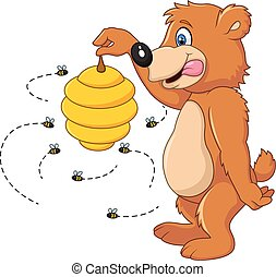 Vector illustration of Cute bear holding Bee hive