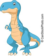 Cute blue dinosaur cartoon
