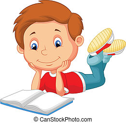 Vector illustration of Cute boy cartoon reading book