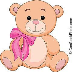 Vector illustration of Cute brown bear stuff cartoon