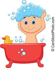 Vector illustration of Cute cartoon boy having bath