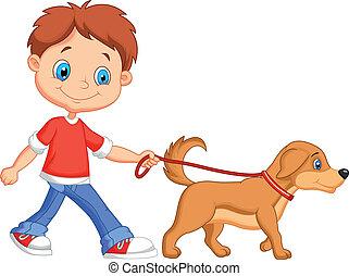 Vector illustration of Cute cartoon boy walking with dog
