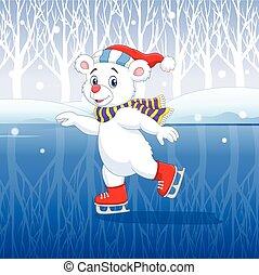 Vector illustration of Cute cartoon polar bear ice skating with winter background