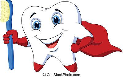 Cute cartoon superhero tooth with t