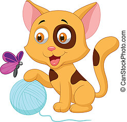 Cute cat cartoon playing with ball