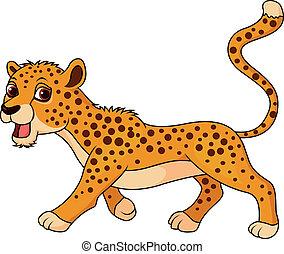 Vector illustration of Cute cheetah cartoon