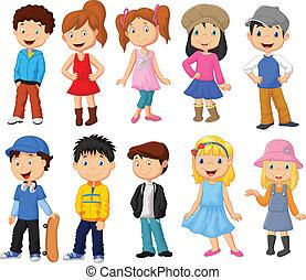 Vector illustration of Cute children cartoon collection