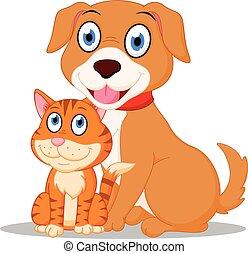 Cute Dog and Cat cartoon