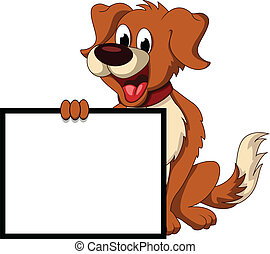 vector illustration of cute dog cartoon holding blank sign