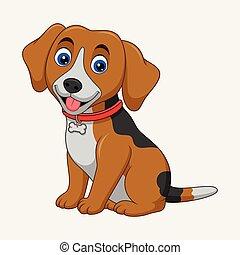 Cute dog cartoon sitting isolated on white background