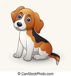 Cute dog sitting isolated on white background