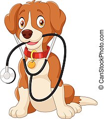 Vector illustration of Cute dog sitting with stethoscope on white background