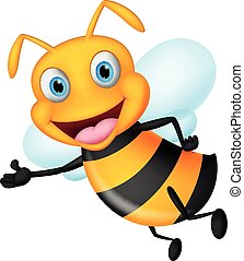 Vector Illustration of Cute flying bee presenting with simple gradient