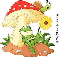 Cute frog and snail cartoon with mu