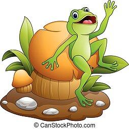 Cute frog dancing with mushroom