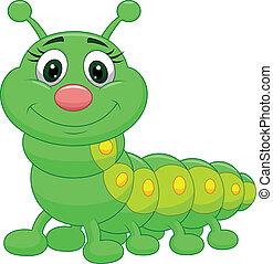 Vector illustration of Cute green caterpillar cartoon