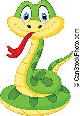 Vector illustration of Cute green snake cartoon