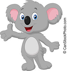 Vector illustration of Cute koala cartoon posing