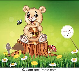 Cute little bear holding honey