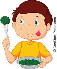 Vector illustration of Cute little boy cartoon eats vegetable using fork