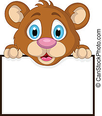 vector illustration of cute little brown bear cartoon with blank sign