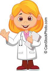 Vector illustration of Cute little female doctor cartoon waving hand